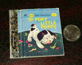 RARE MINIATURE Poky Puppy BOOK 90s Vintage Mini Puppy Dog Little Golden Book 1940s Childrens Story Book Ephemera Tiny Pictures Art & Craft