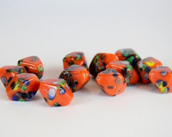 Vintage Orange and Multicolor Splatter Bicone Glass Bead