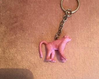 Baby pink glitter monkey keyring