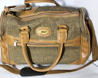 Vintage Verdi Tweed Traveling Carry-On Luggage Bag With 4 Compartments  - Taiwan