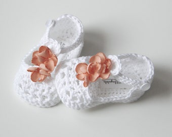 WILLOW Cotton White Crochet T-strap Mary Jane Baby Shoes, Baby Girl Booties, Flower Booties, Size 3-6 months, Ready to Ship