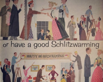 Great 1957 Schlitz beer ad, have a Schlitzwarming. Awesome beer ephemera.