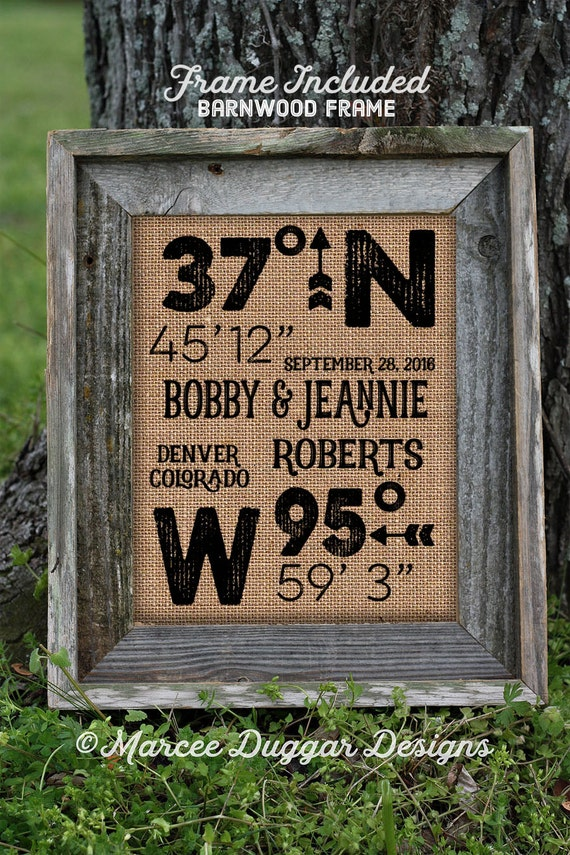 Framed Burlap House Warming Gift | First Last Names | Latitude Longitude | Barn Wood Frame | 11x14 | 8x10  | Burlap Print | GPS