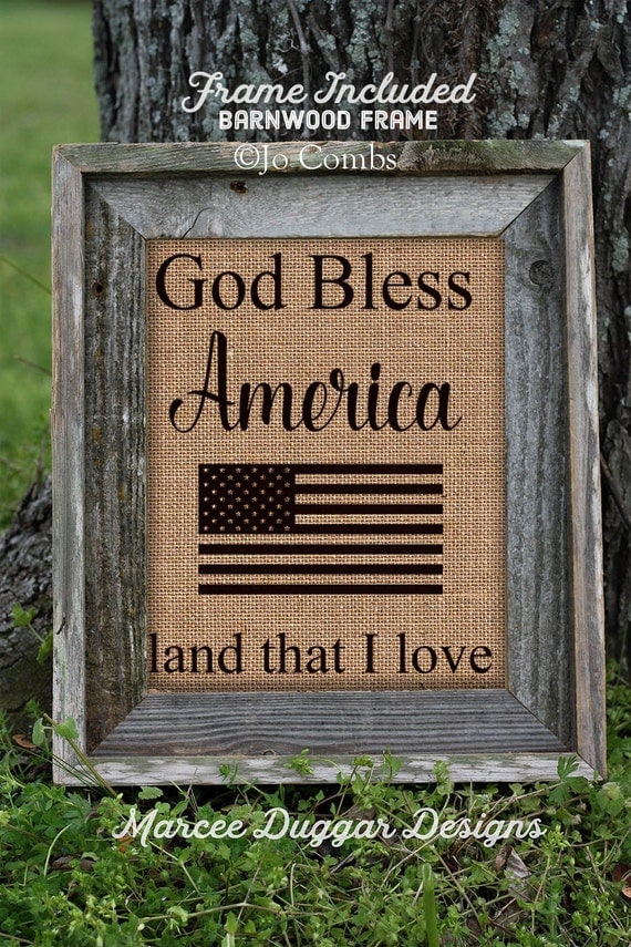 Framed Patriotic Burlap Print | God Bless America | USA | America | Soldier | 153