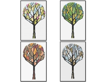 4 Seasons Tree Cross Stitch Pattern PDF - Set of Four ** Instant Download **