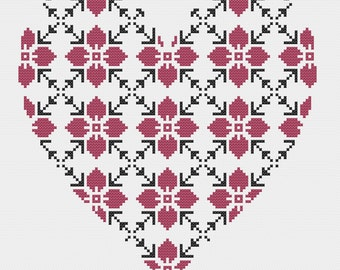 Geometric Heart Cross Stitch Pattern PDF   ** Instant Download **