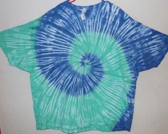 Adult 5X T-Shirt, Mint/Sky Spiral (D)