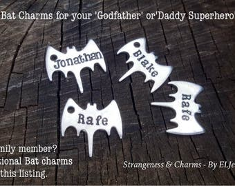Additional Hand Stamped 'Bat Charms' for Superheros Keychain, Bat Keychain, Extra Bats, Add on Bat Charms,Keyring,Keychain,Children's Names