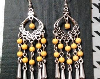 Earrings, dangle earrings, boho chic, bohemian jewelry, chandelier earrings, bronze, yellow, long earrings