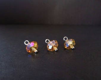 14 Pcs. 8mm Gold Crystal Charms - Beaded Silver Charms - Handmade Beads - DIY Crystal Jewelry Supplies / Parts - CrystalGirlz
