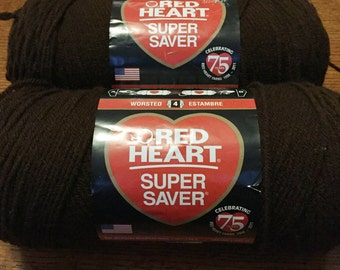 2 Skeins of Red Heart Coffee Color Yarn