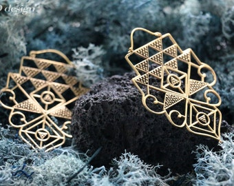 Secret geometry big brass earrings