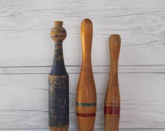 Vintage Mixed Lot of Wood Bowling Pins, Vintage Wooden Bowling Pins, Vintage Wooden Skittles Game Pins