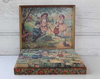 Vintage Wooden Victorian Lithograph Picture Block Puzzle Set in Original Wood Box