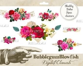 Shabby Boho vintage rose clusters rose borders Digital Graphic Design Elements