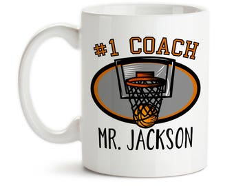 Coffee Mug, Number One #1 Sports Best Basketball Coach Gift Name Personalized Monogram, Gift Idea, Large Coffee Cup