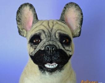 French Bulldog Art Sculpture Realistic Lifelike Model Dog Needle Felted by OzBears