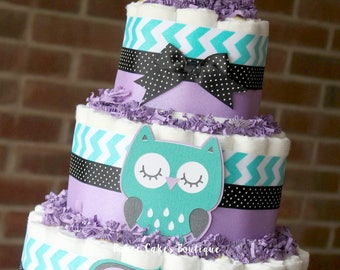 3 Tier Purple, Teal and Black Owl Mini Diaper Cakes, Girls Owl Baby Shower, Purple, Teal, Owl Centerpiece, Decor, Owl Chevron Shower