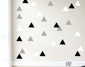 Triangle Wall Decals. Geometric Wall Decor. Black and White Decals. Vinyl Decals. Living room wall decal. Wall sticker. Home decor decals.