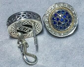 EFFY 18k & Sterling Silver Sapphire Diamond Earrings