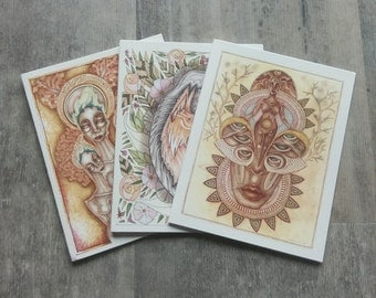 Goddess Cards Set of 3 (Choose Your Own) Greeting Cards