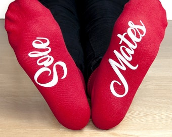 Personalised Sole Mates Romantic Socks - Valentines Gift - Red - Personalised Socks  - For Her - Funny socks - Novelty - FREE UK DELIVERY!