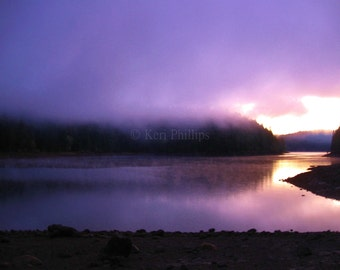 16x20 Cotton Candy Fog Giclee Print, Landscape Photography, Sunset on Lake, Nature Photography, Purple, Fog, Wall Art, Home Decor, Giclee
