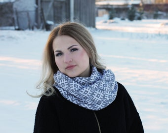 Gray Scandinavian Latvian design infinity scarf interesting folk pattern circle scarf wrap it double as a cowl
