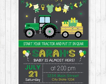 Tractor Baby shower Invitation, Tractor Baby shower Invite, Green, Yellow, Chalkboard, printable
