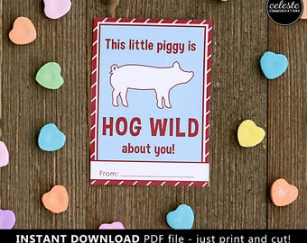 PRINTABLE Pig Valentine card for kids INSTANT DOWNLOAD - Valentine's Day, Valentines, farm, ranch, farmer, stock show pig, yorkshire, pork