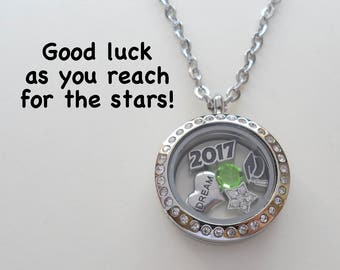 Graduation Floating Charm Locket Necklace, Class of 2017 Necklace, Living Locket, Graduate Gift Necklace, Daughter Necklace, Going Away Gift