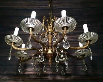 Antique Vintage Brass and Crystal Chandelier Light Fixture 8 Arms Restored