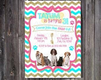 PUPPY KITTEN / Dog Cat Birthday Party Invitation - Any Age, Any Colors!
