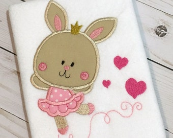 Bunny Applique - Bunny Embroidery - Ballerina Applique - Easter Applique - Valentine's Day Applique - Easter Embroidery