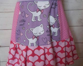 Handmade - Jersey skirt patchwork - cat Gr. 104/110/116