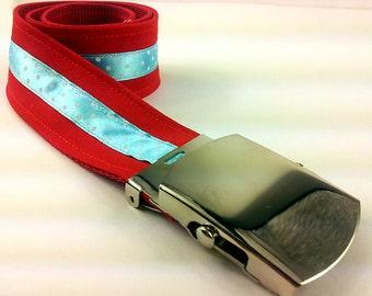 Children belt red blue coupling buckle