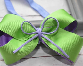 Lime green and lilac  bow headband - Baby / Toddler / Girls / Kids Headband / Hairband / Hair bow / Barrette / Hairclip