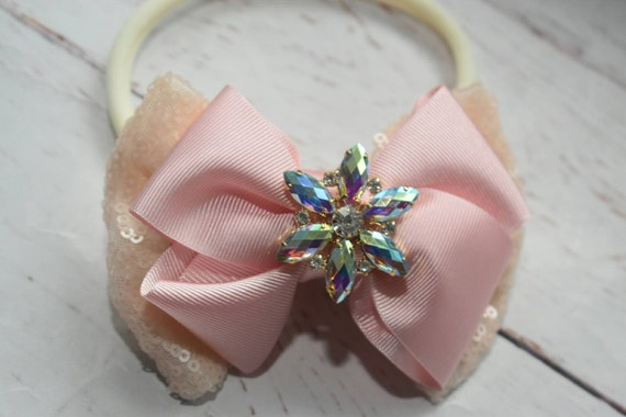 Pink and ivory sequins bow with rhinestone - Baby / Toddler / Girls / Kids Elastic Hairclip / Headband / Hairband/ Hair Barrette