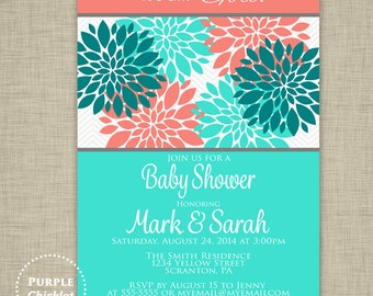 Coral and Turquoise Baby Shower Invite Floral birthday Invite Its a Girl Baby Shower Invite Flower Coral Teal Invite 5x7 Printable JPEG 3b