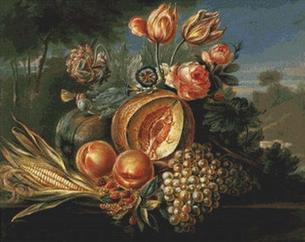 Still Life with Fruit and Flowers PDF Cross Stitch Pattern