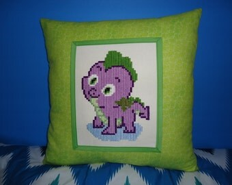 16x16 Kids Handmade Embroidered Pillow. Dragon Spike Decorative Cushion. Needlework Kids Friend Pillow. Kids Room Decor. Birthday Gift
