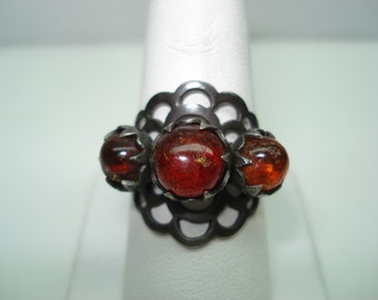 Funky Design Art Deco Amber Ring Size 9