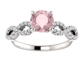 25% OFF Morganite 14K Gold, Diamond Infinity Band, Engagement Ring, White, Yellow, or Rose Gold