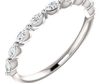 Eternity Band Sapphire Marquise Gemstone Ring, Anniversary Ring, Wedding Band, Genuine Gemstones