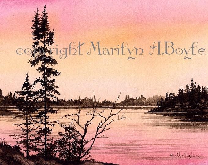 WATERCOLOR ORIGINAL PAINTING; wall art, landscape, scene, sunset, lake, island, trees, shoreline, nature, Canadian art