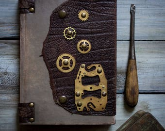 Steampunk Leather Journal Handmade Brown Leather Journal Travel Journal Notebook Diary