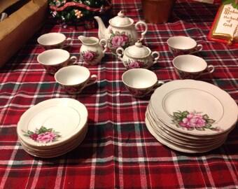 Vintage Moss Rose Tea Set Japan