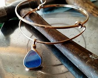 Sea Glass, Genuine Sea Glass, Seaglass Bracelet, Handmade Expandable Bracelet Genuine Sea Glass Bracelet, 14 kt. Gold Filled, FREE SHIPPING