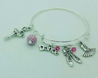 Girls dance bangle, girls dance bracelet, tutu bangle, ballet bangle, ballerina bangle, initial bangle, dance recital gift, dance bracelet