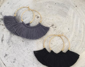 Boho earrings fringe earrings tassel earrings black hoop earrings cheap shipping